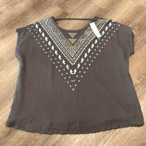 NWT | Apt 9. Embroidered Lined Gray Blouse XL